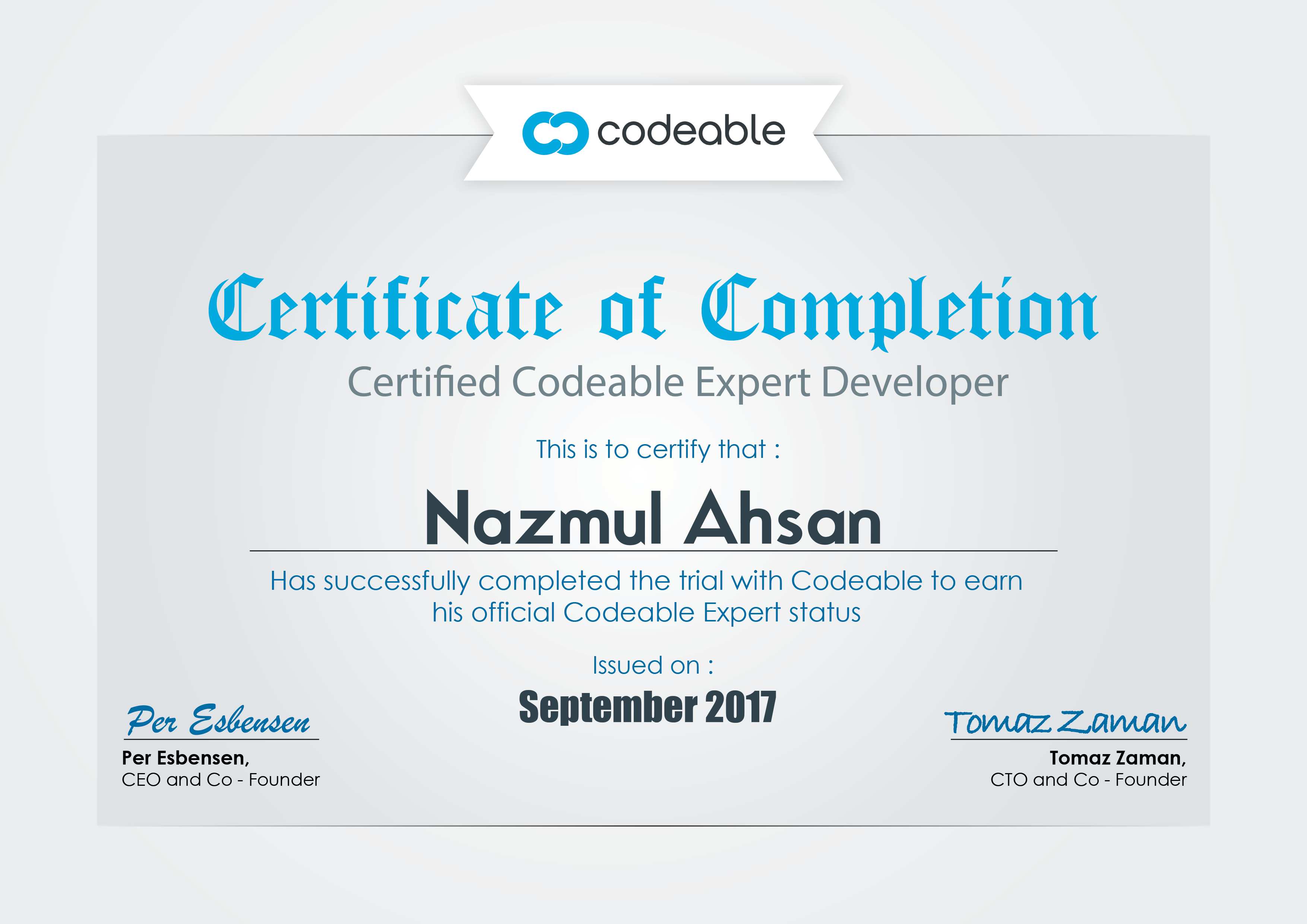 Certificate of Codeable for Nazmul Ahsan